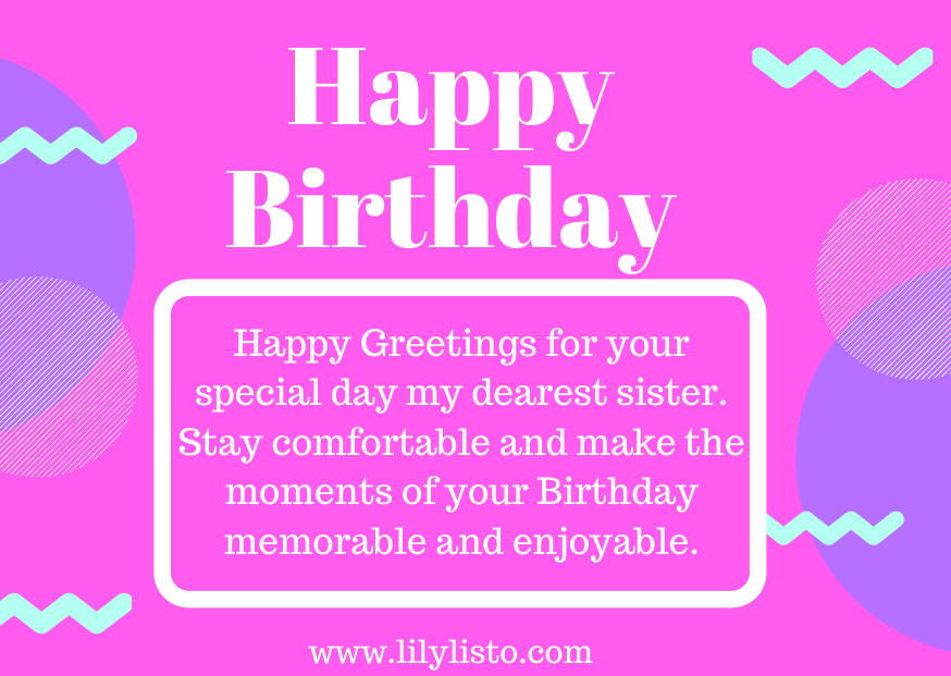 formal quotes and messages for sister bday