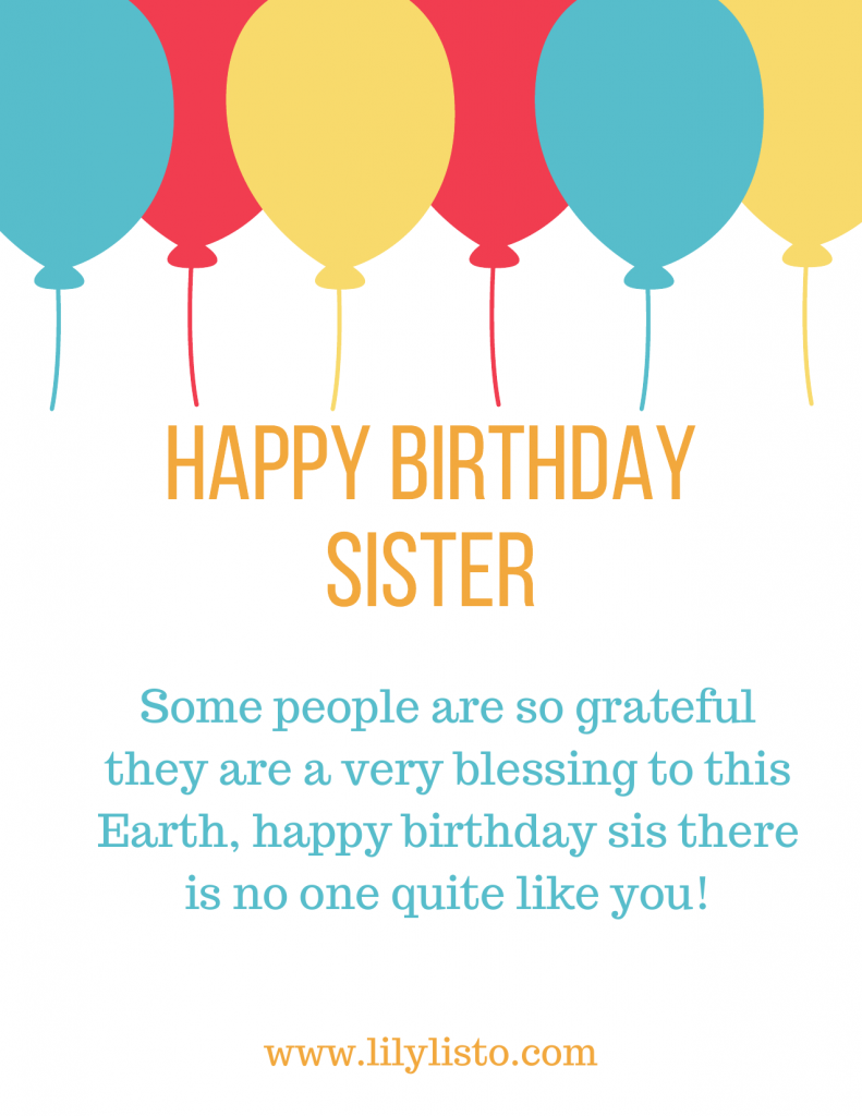 best and amazing sister birthday card