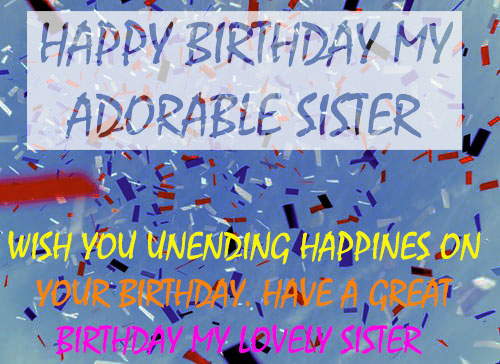 sweet wishes image for sister birthday