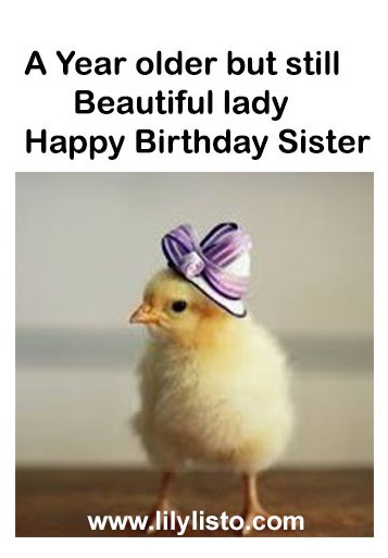 funny chick pic for sister birthday