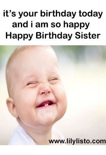 happy birthday sister funny baby pic