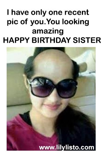 funny birthday image with saying for sister