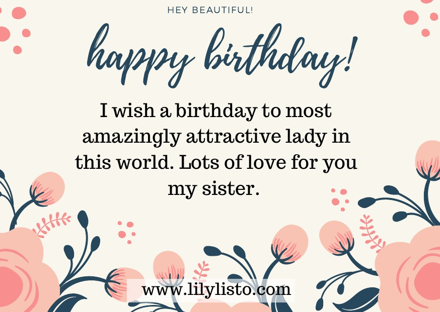 beautiful birthday wishes image for sister